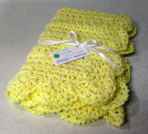 Yellow Crocheted Sweet Dreams Baby Blanket