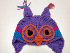 Purple Owl Crochet Hat